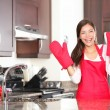 Happy baking cooking woman - Stock Photo