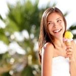 Ice cream woman looking — Stock Photo