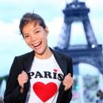 Paris Eiffel tower woman happy — Stock Photo #21564283