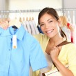 Woman shopping clothes - Stock Photo
