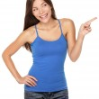 Woman pointing happy isolated — Stock Photo