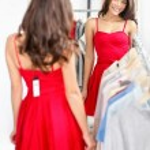 Woman trying dress — Stock Photo