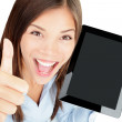 Tablet computer woman happy — Stock Photo
