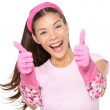 Cleaning woman thumbs up excited — Stock Photo