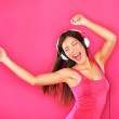 Woman dancing listening to music — Stock Photo