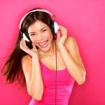 Headphones music woman dancing — Stock Photo