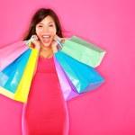 Gelukkig opgewonden vrouw winkelen — Stockfoto