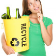 Recycling woman thinking — Stok fotoğraf