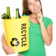 图库照片: Recycling woman thinking