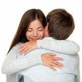 Embracing couple hugging happy — Stock Photo