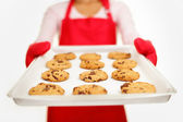 Chocolate chip cookies - baking woman — Stock Photo