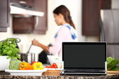 Cooking and computer laptop concept — Stock Photo
