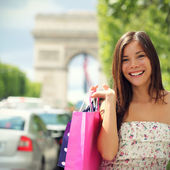 Paris shopping frau — Stockfoto