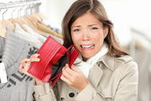 Empty wallet - woman with no money shopping — Stok fotoğraf