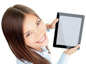Mulher de tablet — Foto Stock