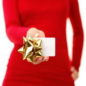 Gift card - woman showing sign — Stock Photo