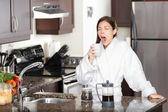 Yawning coffee woman in morning — Stock Photo