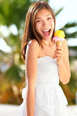 Ice cream girl excited — Stock Photo