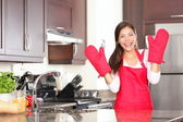 Happy baking cooking woman — Stock Photo