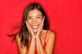 Happy girl excited — Stock Photo