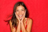 Happy girl excited — Stock Photo