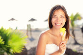 Woman eating ice cream — Stock Photo