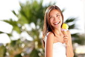 Ice cream woman looking — Stockfoto
