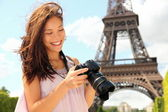 Paris tourist with camera — Stok fotoğraf