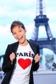 Paris Eiffel tower woman happy — Stock Photo
