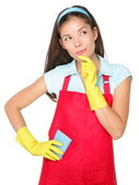 Cleaning woman thinking — Stock Photo
