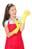 Cleaning woman with rubber gloves — Stock Photo