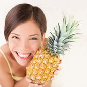 Pineapple fruit woman — Stock Photo