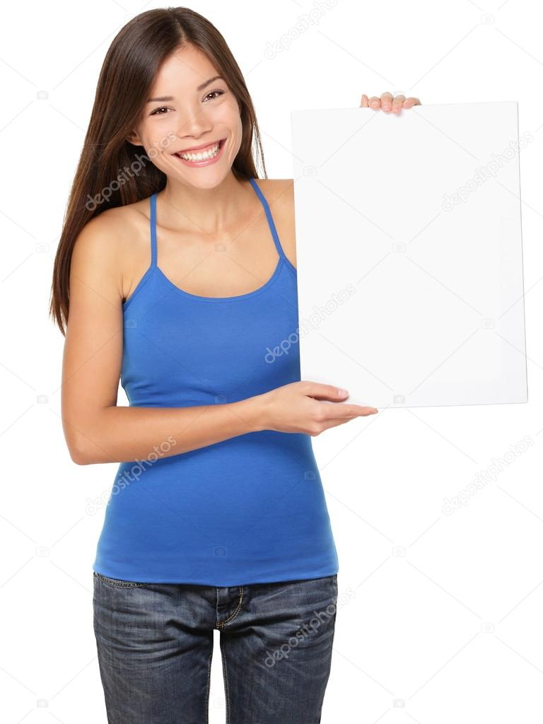Sign woman holding showing white sign — Stock Photo © Ariwasabi ... Woman