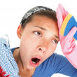 Stock Photo: Funny Tired house cleaning woman