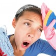 Funny Tired house cleaning woman — Stock Photo