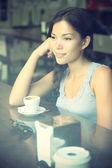 Cafe woman thinking — Stock Photo