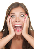 Surprised - beautiful happy woman shocked — Stock Photo