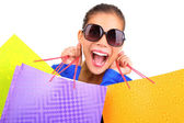 Funny woman shopping — Stock Photo