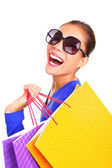 Fashion shopping woman happy with bags — Stock Photo