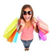 Shopping girl screaming of joy — Stock Photo