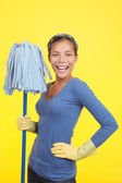 Happy cleaning woman — Stock Photo