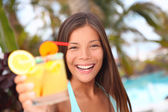 Summer tropical cocktail drink at pool party woman — Stock Photo