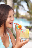 Tropical resort drink woman — Stock Photo