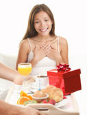 Birthday gift surprise woman — Stock Photo
