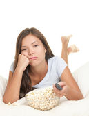Watching boring movie — Stock Photo