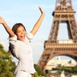 Travel Paris Eiffel Tower woman happy tourist — Stock Photo