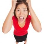korkmuş kadın dehşete ifade ile — Stok fotoğraf