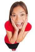 Joyful excited surprised young woman isolated — Stock Photo
