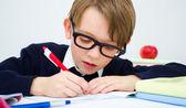 Tareas de escritura colegial en libro — Foto de Stock