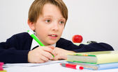 Schoolboy writing homework from school in workbook — Stock Photo